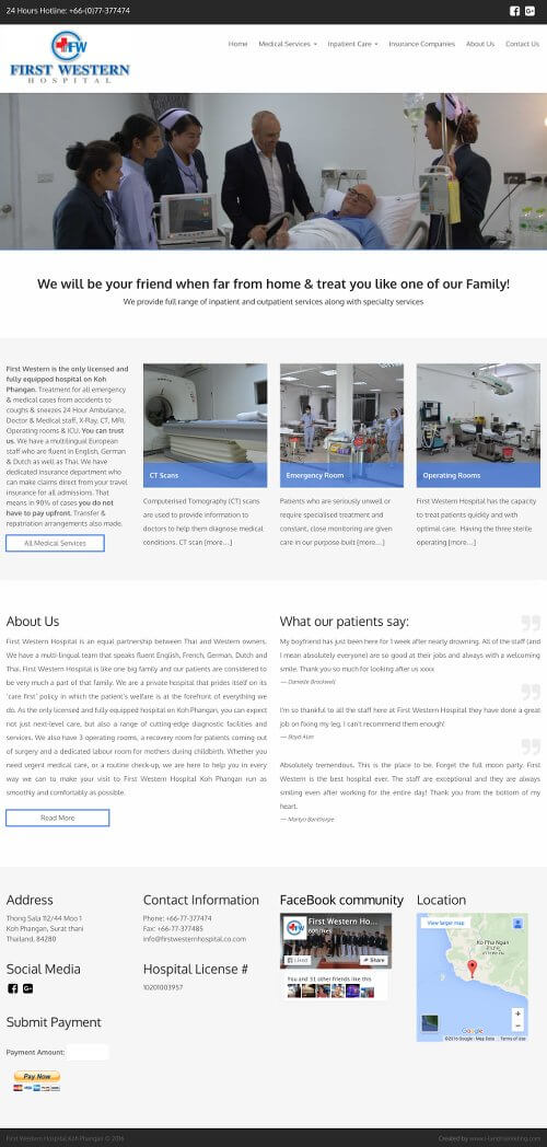 First western hospital WordPress thailand web development and seo koh phangan